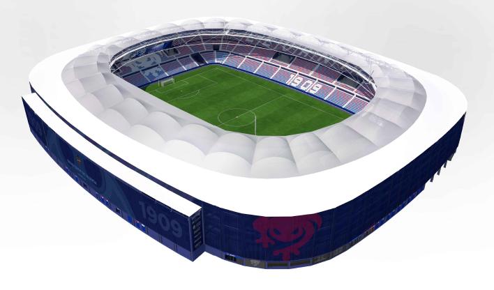 Envolvente de la cubierta del nuevo estadio Ciutat de Levante